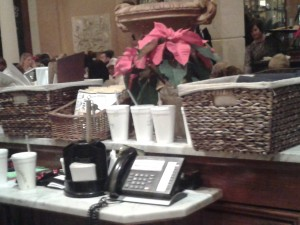 Six styrofoam cups sit at the host station for staff to use. Is there any real reason for this on the cusp of 2013?