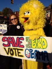 Jeanne Clark rallying for Obama  (& Big Bird)