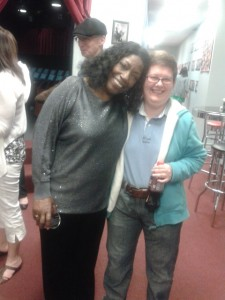 Linda Haston (l) with Ledcat (r)