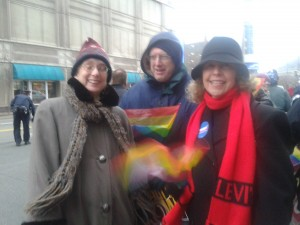 Laura (l) was bundled up for the marriage equality rally in March.