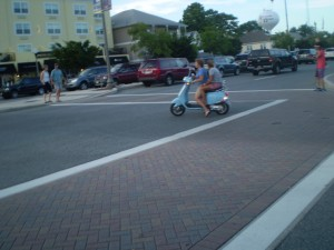 We saw quite a few female duos on scooters and such.