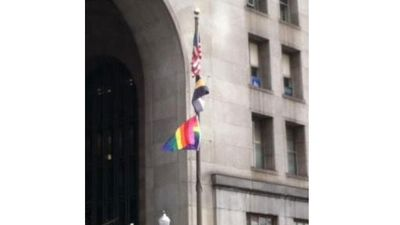 Snarled equality flag at City County Building. Photo WPXI
