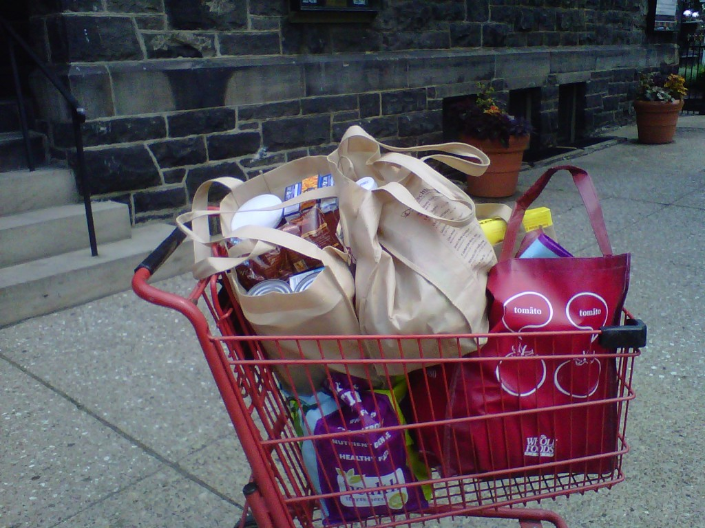 Use your buggy for good, like buying food to donate to a food pantry.