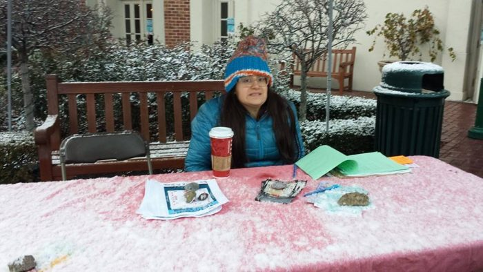 Long-time volunteer Nina staffing the welcome booth in 2013!