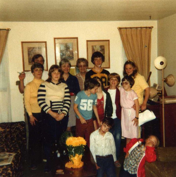 This is more representative. I'm in the pink dress. Jimmy is in front pretending to be a zombie.