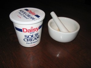 Joe posts an easy recipe for a home mask using sour cream and rolled oats.