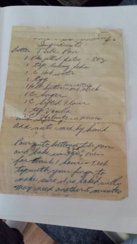 Date Nut Pudding Handwritten Recipe