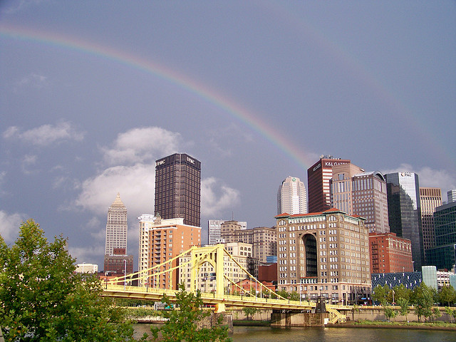 """Double rainbow over Pittsburgh"" by Jon Dawson, via Flickr. Licensed under Creative Commons."