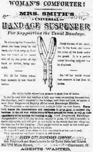 Ad for menstrual suspenders - Dear God. Image: Museum of Menstruation