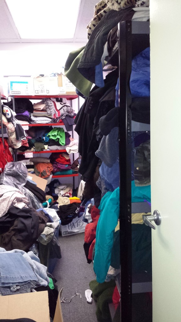 With donated shelving, the GLCC converted a small office into a distribution space for  WinterGear items serving thousands of neighbors.