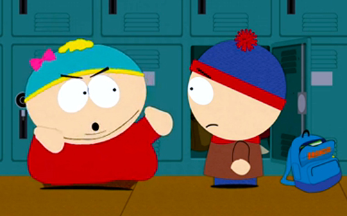 "Eric (temporarily ""Erica"") Cartman confronts Stan Marsh in a scene from South Park's ""The Cissy."""