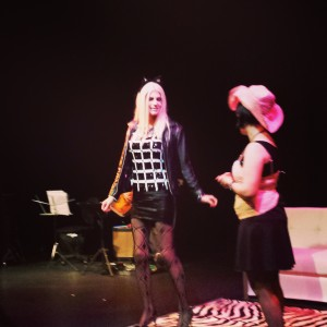Nomi Darling volunteered to act out a kitty cat during an audience performance  piece.