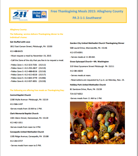 Pittsburgh Free Thanksgiving Meals