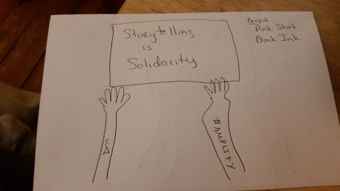 My horrible attempt to illustrate a protest sign held by two different hands/arm with an #AMPLIFY tattoo and a pink triangle tattoo.