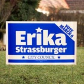 Erika Strassburger yard sign