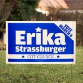 Erika Strassburger yard sign