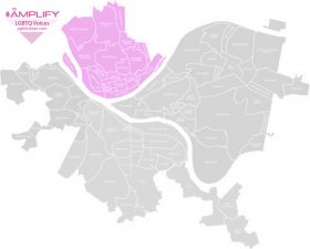Pittsburgh map - Northside highlighted in pink