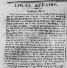Pittsburgh Halloween History 1858