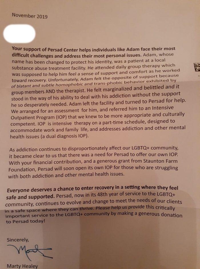 Persad Fundraising Letter