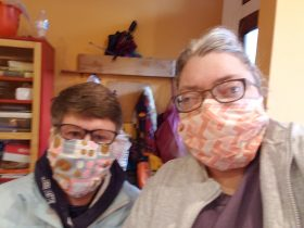 Sue and Laura in Face Masks