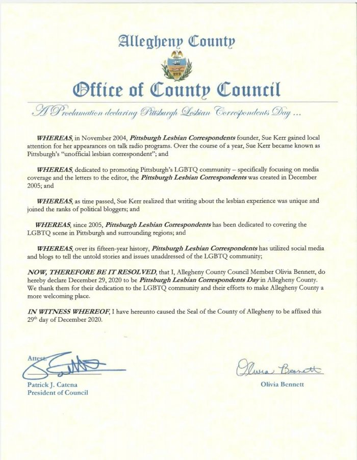 Allegheny County Council Proclamation