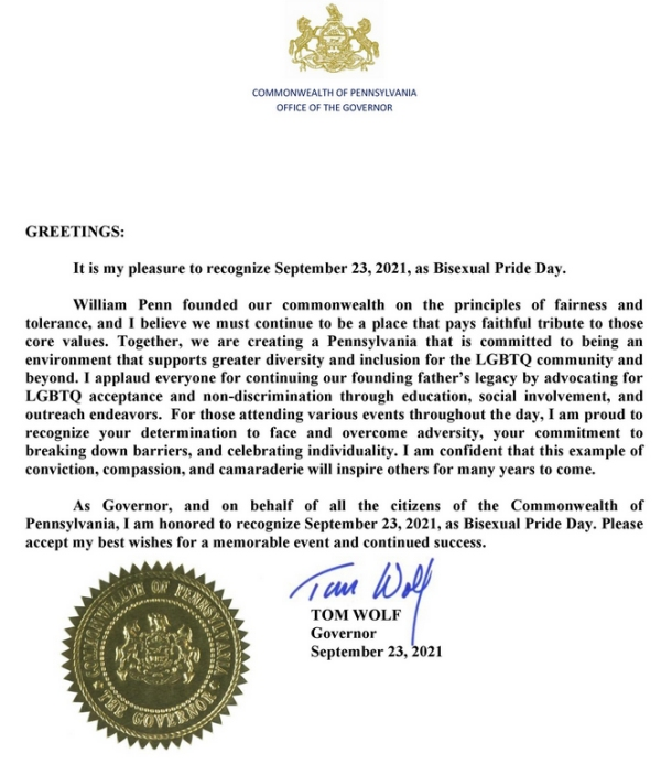 Governor Tom Wolf Proclamation